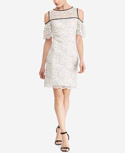 American Living Cold-Shoulder Lace Sheath Dress
