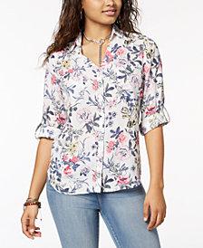 BCX Juniors' Floral-Print Utility Shirt