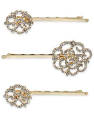 Gold-Tone 3-Pc. Set Pavé Hair Pins, Created for Macy's