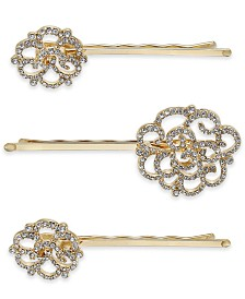 INC International Concepts Gold-Tone 3-Pc. Set Pavé Hair Pins, Created for Macy's