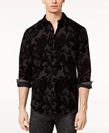 I.N.C. Men's Flocked Paisley Shirt, Created for Macy's