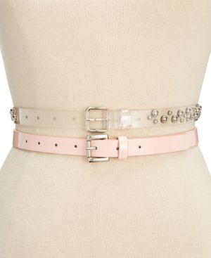 Steve Madden 2-for-1 Clear Studded & Patent Belts 5531084