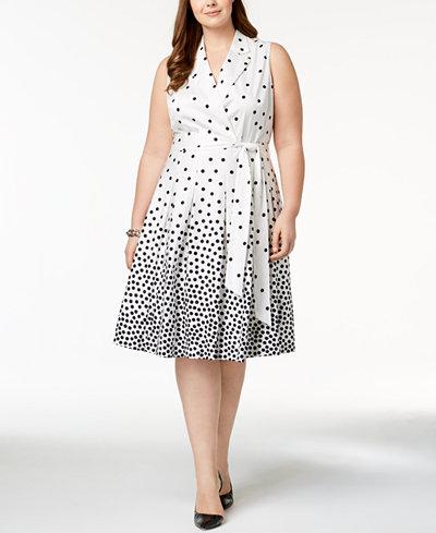 Anne Klein Plus Size Dot-Print Wrap Dress