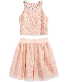 Beautees 2-Pc. Lace Top & Glitter Skirt Set, Big Girls
