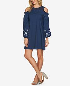 CeCe Embroidered Cold-Shoulder Dress