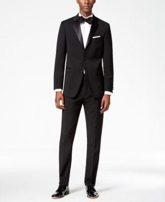 Men's Modern-Fit Flex Stretch Black Tuxedo Pants