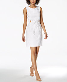 Ellen Tracy Petite Belted Sheath Dress