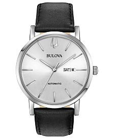 Bulova Men's Automatic American Clipper Black Leather Strap Watch 42mm