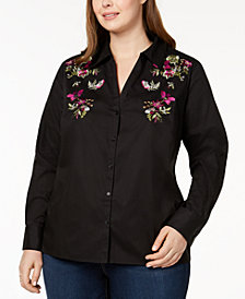 I.N.C. Plus Size Embroidered Shirt, Created for Macy's