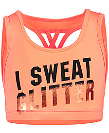 Ideology Glitter-Print Sports Bra, Big Girls, Created for Macy's