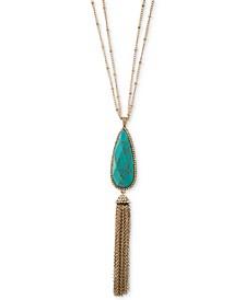 """Gold-Tone Pavé, Stone & Chain Tassel 32"""" Double-Chain Pendant Necklace"""