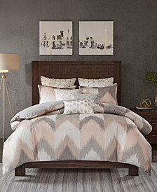 Alpine Cotton Reversible Full/Queen Chevron Stripe Print Duvet Mini Set