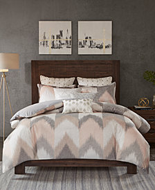 INK+IVY Alpine Cotton Reversible Full/Queen Chevron Stripe Print Duvet Mini Set