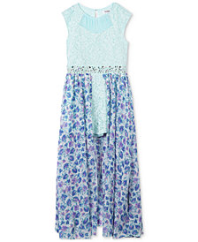 Speechless Glitter Lace Maxi Overlay Romper, Little Girls