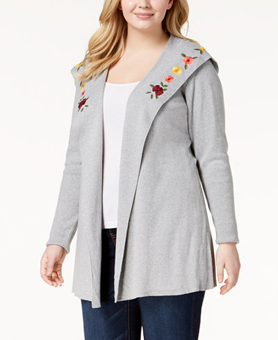 Belldini Plus Size Embroidered Hoodie Cardigan