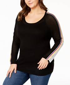 Belldini Plus Size Striped Colorblock Sweater