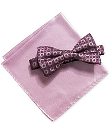 Alfani Men's Geometric Pre-Tied Bow Tie & Solid Pocket Square Set, Created for Macy's