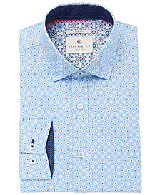 Con.Struct Men's Slim-Fit Stretch Blue Daisies Dress Shirt, Created for Macy's