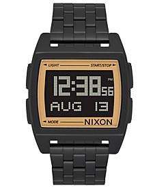 Men's Digital Base Black Stainless Steel Bracelet Watch 38mm
