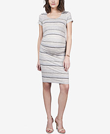 Seraphine Maternity Ruched Striped Dress