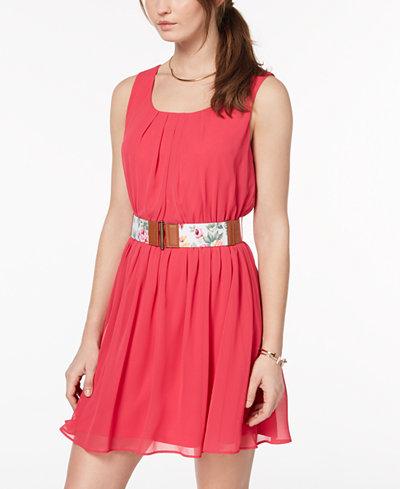 BCX Juniors' Belted Chiffon Dress