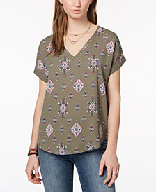 Hippie Rose Juniors' Back-Zip Cuff-Sleeved Top
