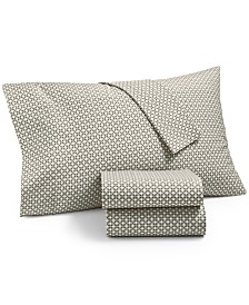 CLOSEOUT! Martha Stewart Essentials Printed 220 Thread Count 4-Pc. King Sheet Set, Created for Macy's