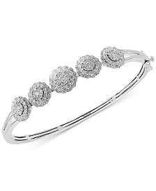 EFFY® Diamond Floral Bangle Bracelet (1-5/8 ct. t.w.) in 14k White Gold