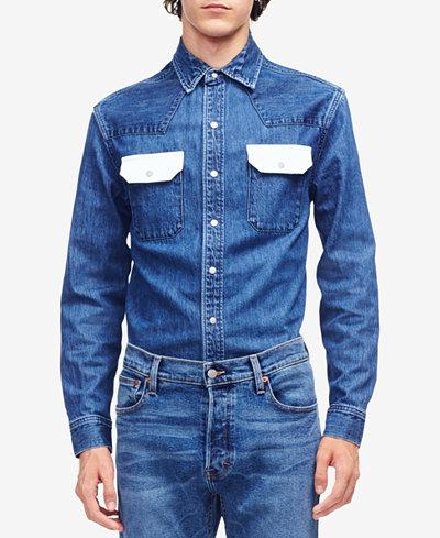 Calvin Klein Jeans Men's Contrast Pocket Western Shirt
