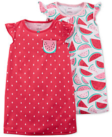 Carter's 2-Pack Watermelon-Print Cotton Nightgowns, Little Girls & Big Girls