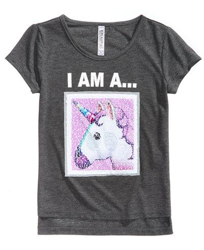 Beautees Unicorn/Panda Reversible Sequin T-Shirt, Big Girls