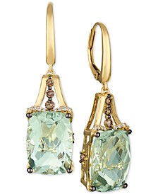 Mint Julep Quartz (12-3/8 ct. t.w.) & Diamond (3/8 ct. t.w.) Drop Earrings in 14k Gold