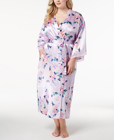 Thalia Sodi Plus Size Floral-Print Lace-Trim Robe, Created for Macy's