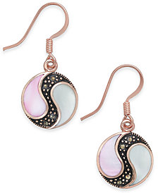 Marcasite & Mother-of-Pearl Disc Drop Earrings in Rose Gold-Plate