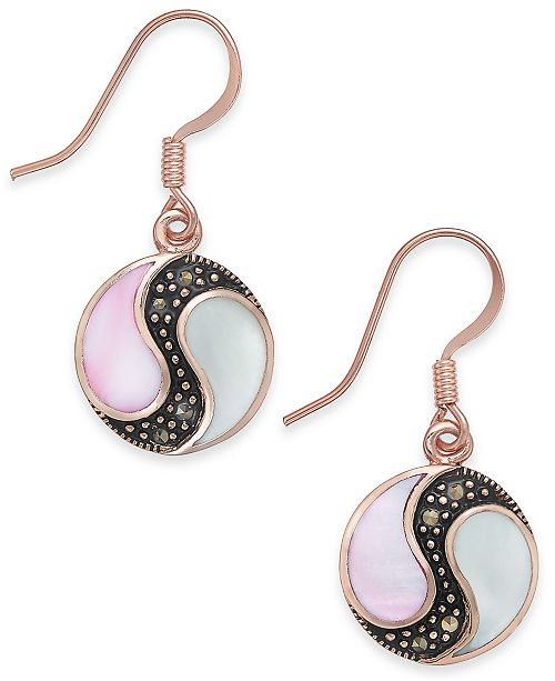 Macy's Marcasite & Mother-of-Pearl Disc Drop Earrings in Rose Gold-Plate