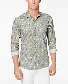 Tallia Men's Slim-Fit Olive Paisley-Print Dress Shirt