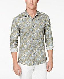 Tallia Men's Slim-Fit Olive Paisley-Print Dress Shirt