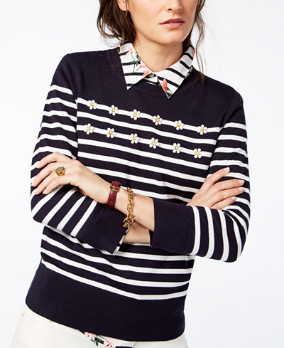 Tommy Hilfiger Striped Floral-Appliqué Sweater, Created for Macy's
