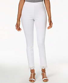 Style & Co Fringe-Hem Pull-On Pants, Created for Macy's