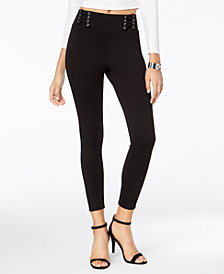 Material Girl Juniors' Lace-Up-Waist Skinny Pants, Created for Macy's