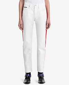 Calvin Klein Jeans Striped White Straight Jeans