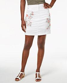 Karen Scott Embroidered Denim Skort, Created for Macy's
