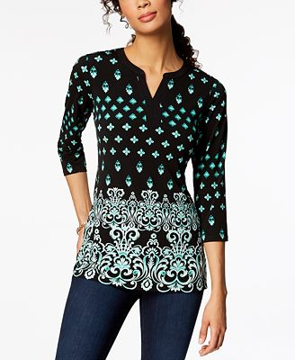 Charter Club 3/4-Sleeve Printed Split-Neck Top, Created for Macy's