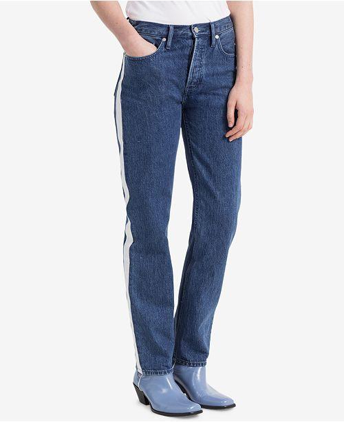 Vertica Striped Straight Jeans