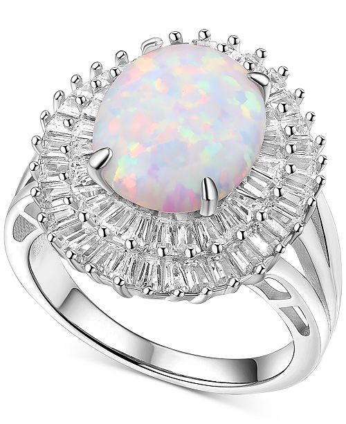Macy's Cubic Zirconia & Lab Created Opal (7 ct. t.w.) Halo Ring in Sterling Silver