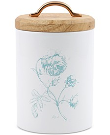 Small Floral Canister with Wood Top