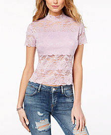 GUESS Shayna Mock-Turtleneck Lace Top