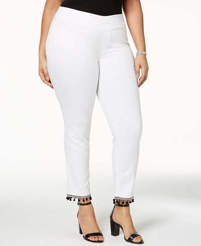 Style & Co Plus Size Pom-Pom Pull-On Pants, Created for Macy's