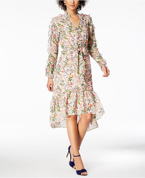 c9b844d2f23 julia jordan Floral-Print Ruffled Midi Dress & Reviews - Dresses ...