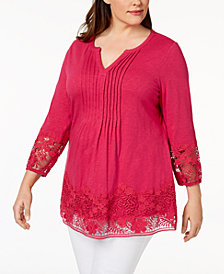 Charter Club Plus Size Cotton Crochet-Trim Top, Created for Macy's
